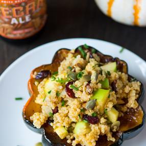 Quinoa & Apple Stuffed Acorn Squash - Vegan {VIDEO}
