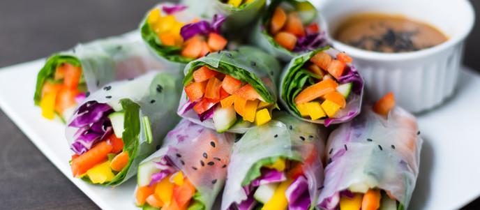 Rainbow Spinach & Vegetable Spring Rolls with Peanut Sauce - Vegan