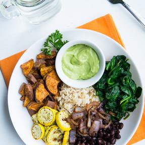 Brown Rice Grain Bowl with Roasted Veggies & Avocado Cream Sauce