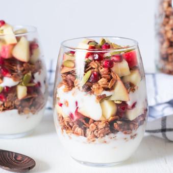 Holiday Yogurt Breakfast Parfait with Cinnamon Pecan Granola - Vegan