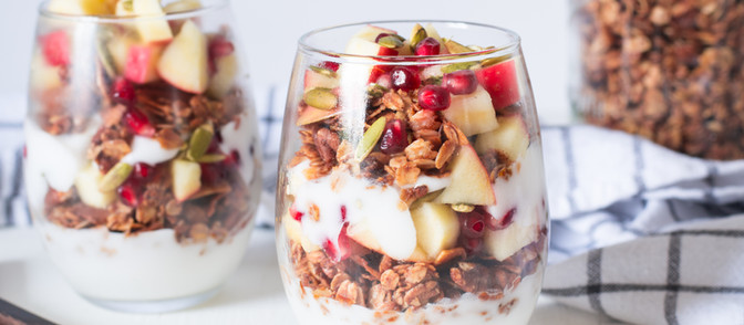 Holiday Yogurt Breakfast Parfait with Cinnamon Pecan Granola - Vegan