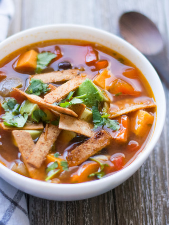 Sweet Potato & Black Bean Tortilla Soup - Vegan