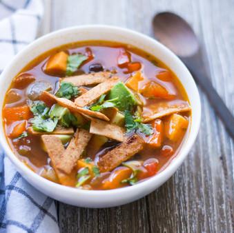 Sweet Potato & Black Bean Tortilla Soup - Vegan