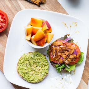 Avocado & Coconut Bacon Breakfast Sandwich on a Toasted Ezekiel Bread English Muffin // Vegan