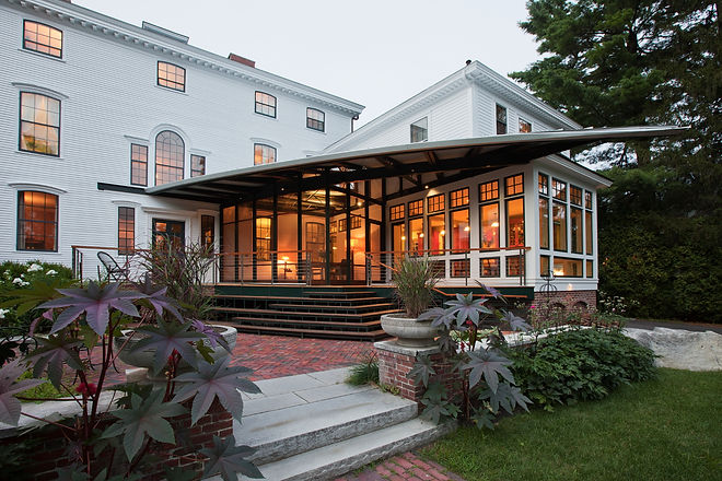 Exterior porch in Newburyport dream home renovation by Newburyport based Andrew Sidford Architects