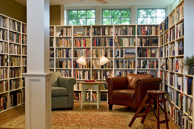 Comfortable and elegant library in a Victorian redesign from Andrew Sidford Architects