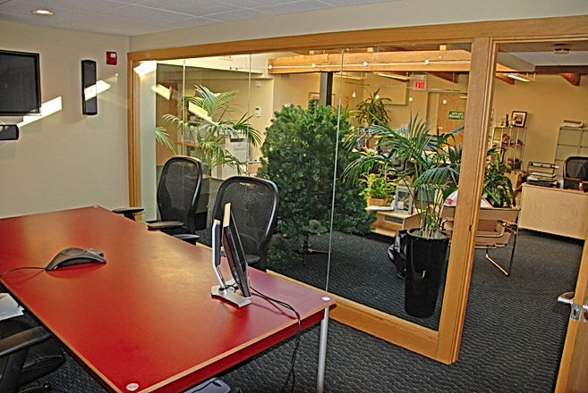 Conference room in a commercial Newburyport renovation by Andrew Sidford Architects
