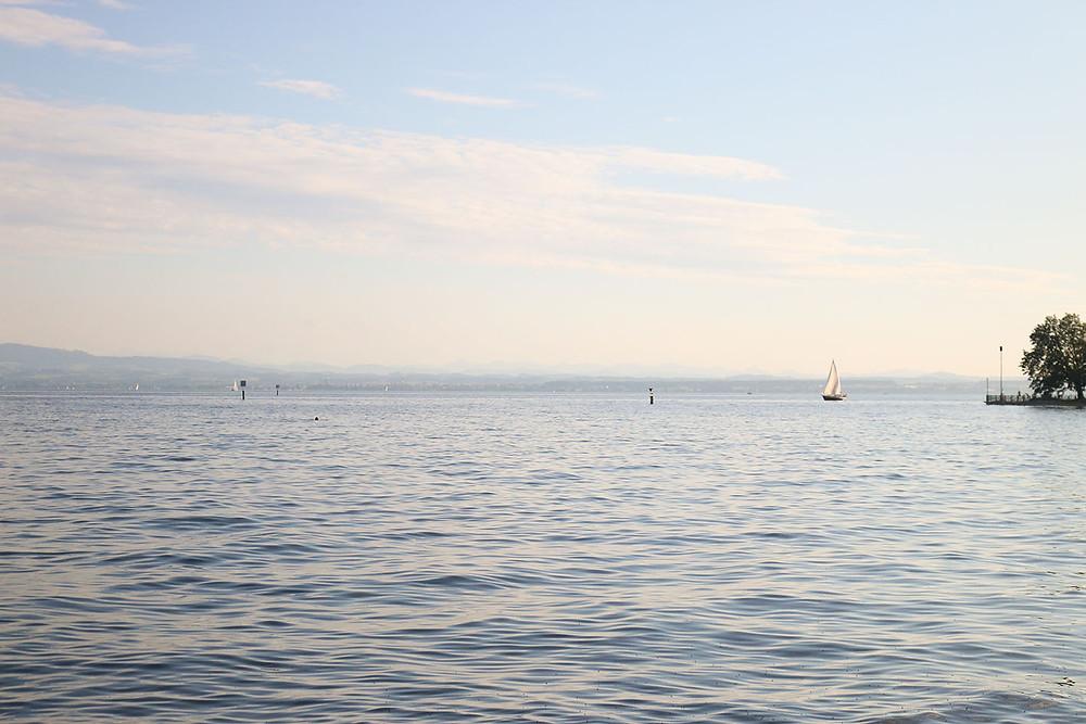 Segelschiffe, schwimmen oder SUP im Bodensee in Friedrichshafen.