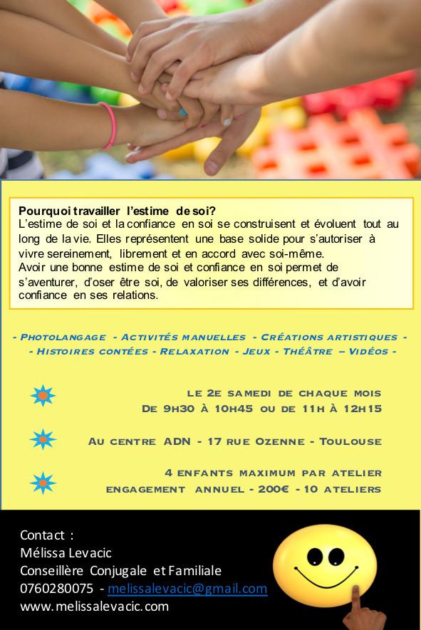 Ateliers mensuels pour enfants : Estime de soi et confiance en soi à Toulouse
