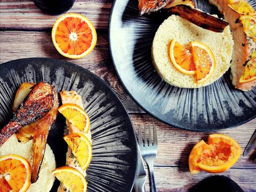 Pavés de saumon au four aux oranges sanguines et fenouil braisé à l'orange