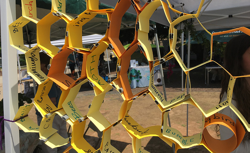 Beautiful craft by visitors to Southeast Beescape's festival booth