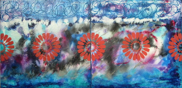 Daisies  16x32 - Dyptich
