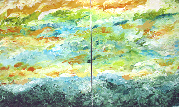 Up the Hillside - 24x48 Diptych