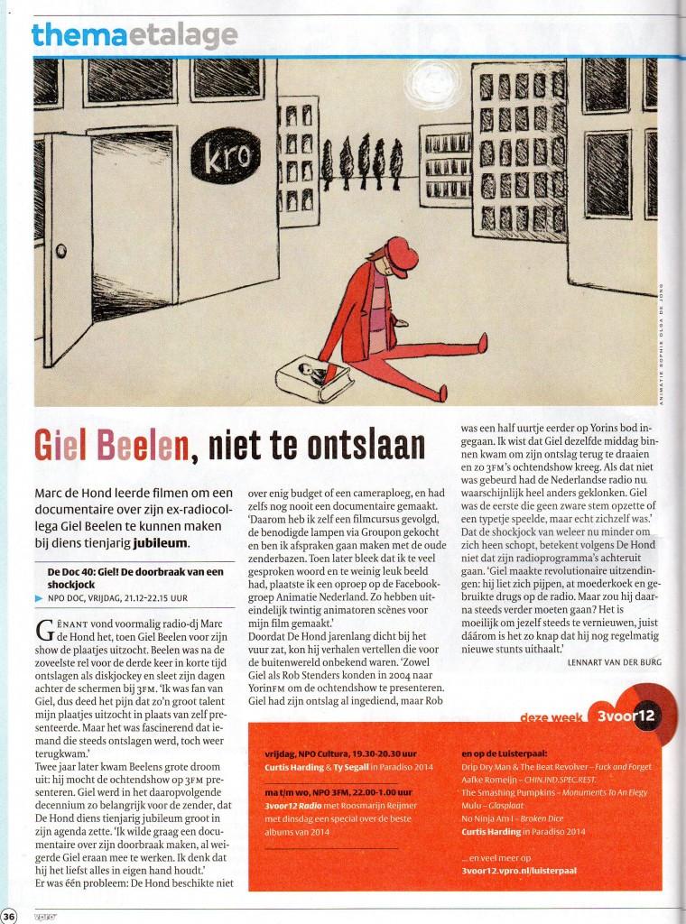 Aandacht in de VPRO Gids voor de documentaire van Marc de Hond over Giel Beelen