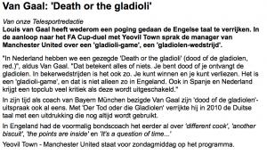 Louis van Gaal: dood of de gladiolen