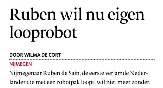 De eerste verlamde Nederlander die met een robotpak loopt