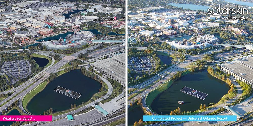 SolarSkin rendering of Comcast Logo onsite at Universal Orlando resort versus final project installed on site