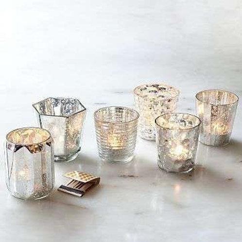 Assorted Silver Mercury Tea Light Holders