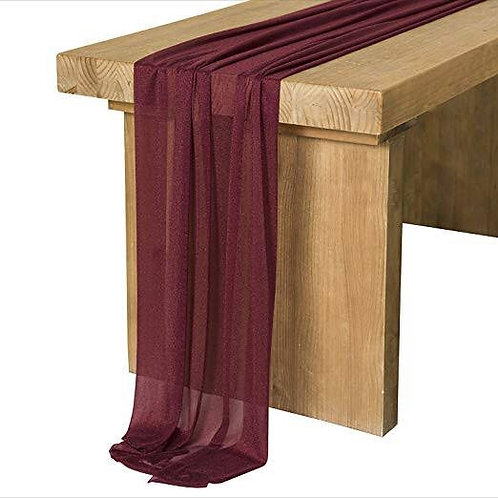 Table runners - burgundy chiffon 3m