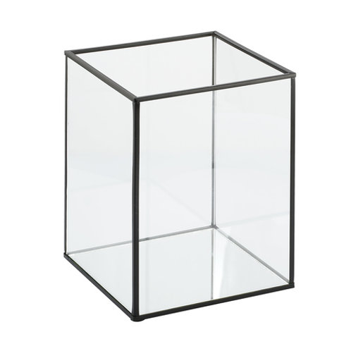Large black framed glass box candle holder