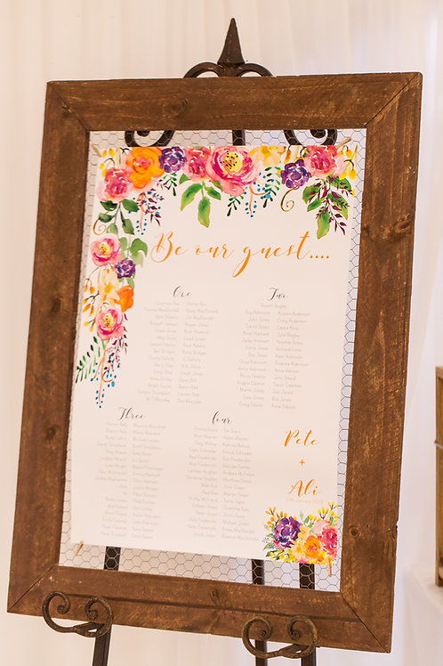 Timber and Chicken Wire Frame Seating Chart