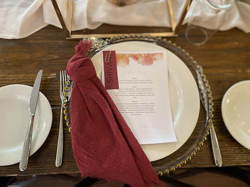 Raspberry / burgundy napkins