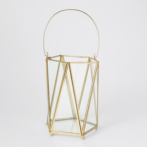 Gold and Glass Candle Holder