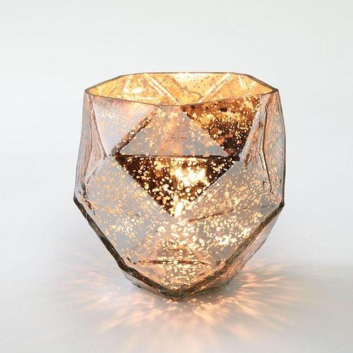 Large rose gold/ copper mercury glass tea light holder