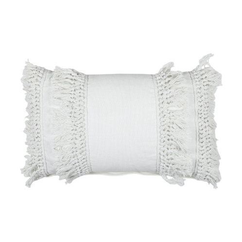 Cushions - white tassel boho cushion