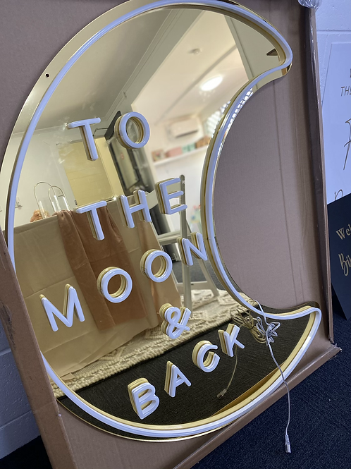 To the moon and back neon sign