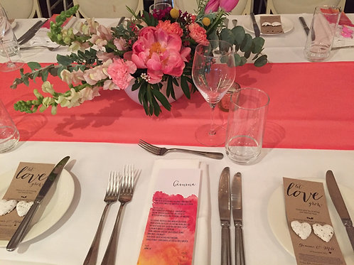 Table runners - coral chiffon 3m
