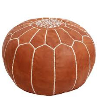 Tan Leather Moroccan Poof