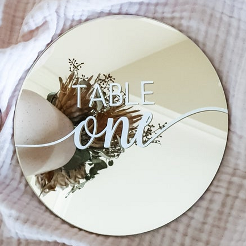 Acrylic Table Numbers - Gold