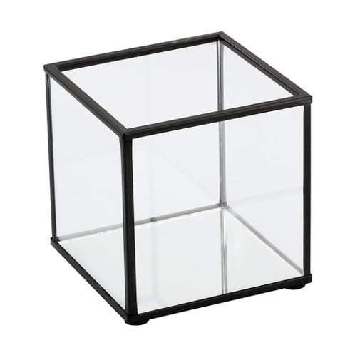 Small black framed glass box candle holder