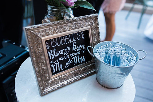 "Small Framed Blackboard ""Bubbles"" Sign"