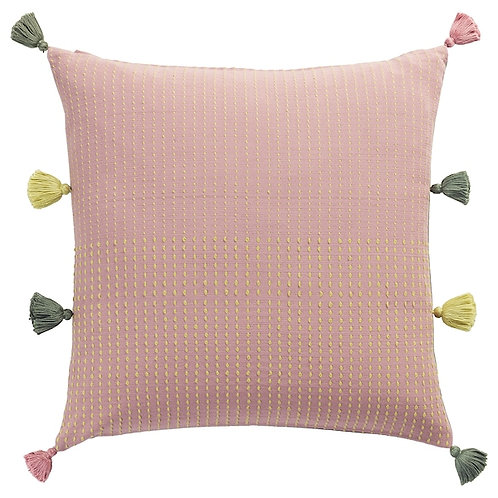 Cushion - dusty pink with olive & yellow tassels