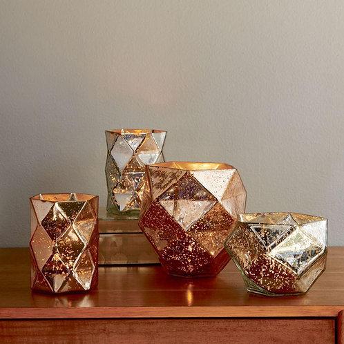 Tall rose gold/ copper mercury glass tea light holder