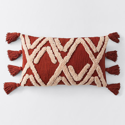 Cushions - deep red boho with tassels