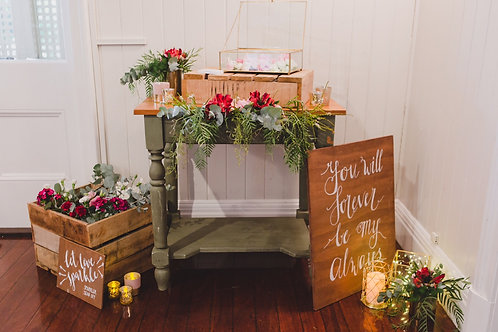 Small Rustic Olive Green and Timber Table