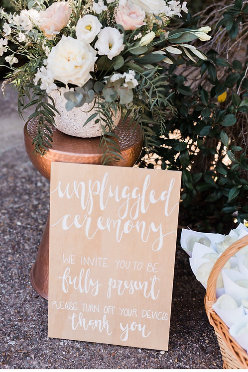 Natural Timber Unplugged Ceremony Sign