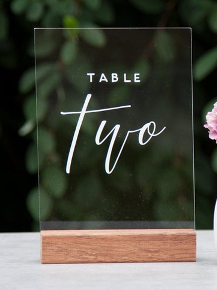 Acrylic Table Numbers - clear