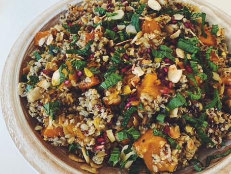 pumpkin, almond & grain salad