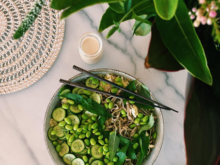 edamame, soba + cucumber salad