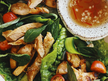 lemongrass chicken lettuce cups with nuoc mam