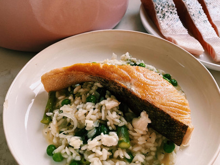 pea, asparagus + goat cheese risotto