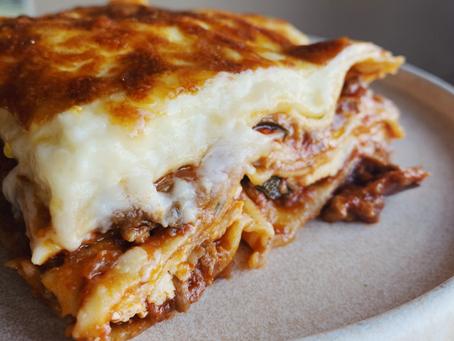 pork, portobello + porcini lasagne