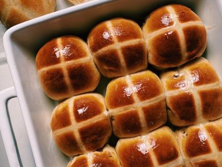 orange + raisin hot cross buns