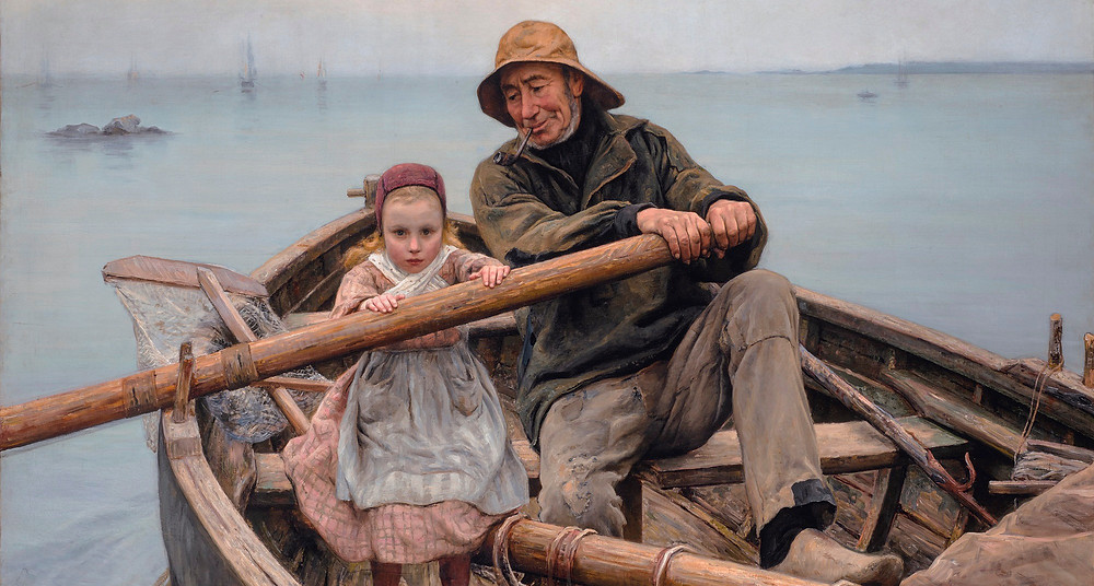 [Image description] A painting of an old sailor and a very young girl rowing a boat together