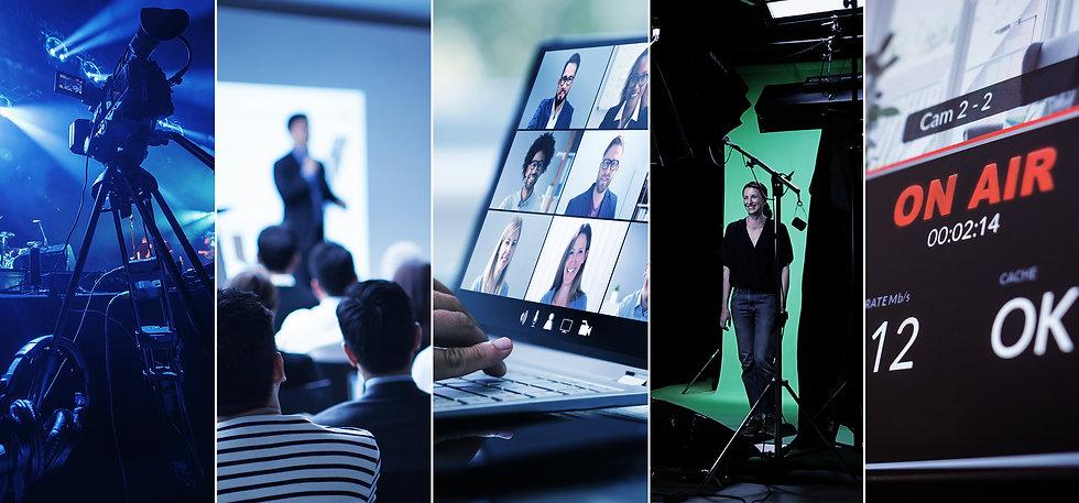 Visuell representasjon av tjenester, video, foto, lyd, streaming, podcasting, green screen, tekst, produksjon