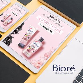 BIORÉ // Campagne digitale pour les produits de la gamme Quartz Rose & Charbon